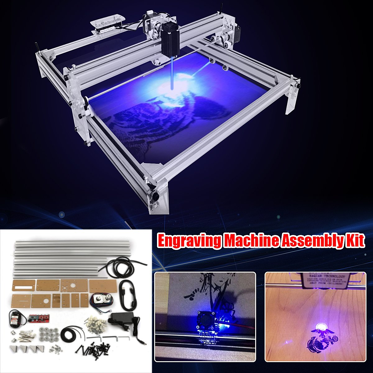 40X50CM DIY Desktop Mini Blue Laser 500mW Engraving Engraver Machine Wood Router/Cutter/Printer/Power Adjustable No Laser Goggle