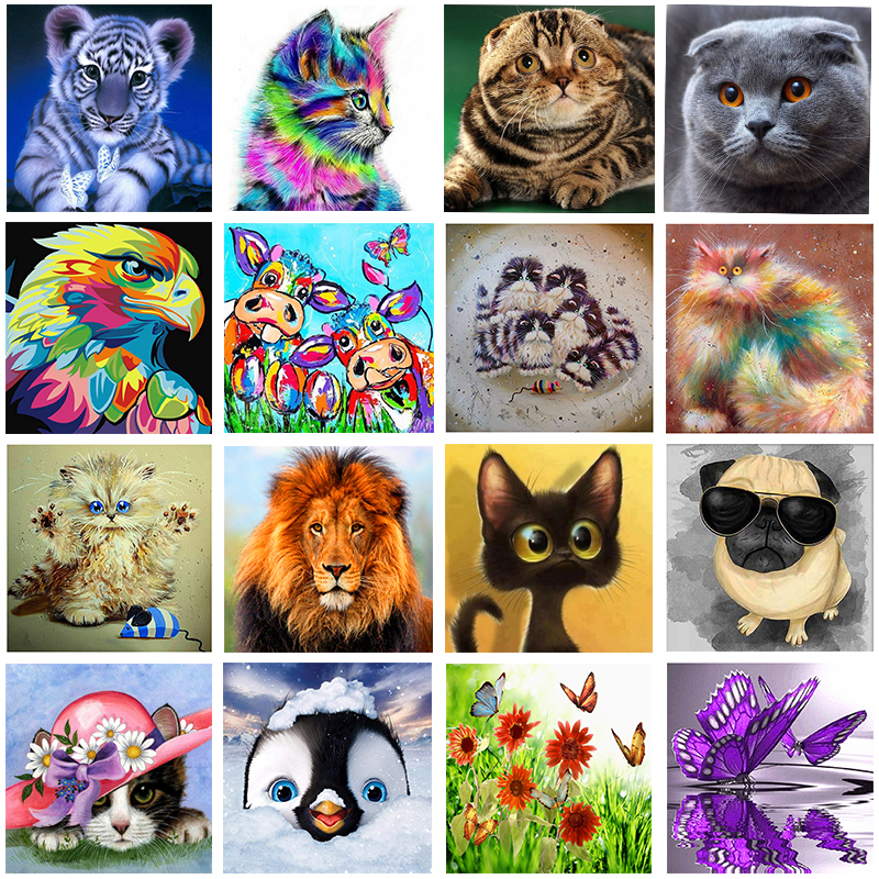 Megayouput Diy 5d Diamond Painting Cartoon Animal Pattern