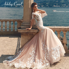 Ashley Carol Mermaid Wedding Dress Flare Sleeve Court Train