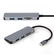 Type-C to HDMI Type C to USB 3.0 HUB 5 in1 Micro SD/TF Card Reader Adapter for MacBook Samsung Galaxy S9/S8 Huawei P20 Pro цена и фото