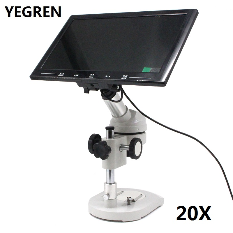 20X Video Microscope with 20X UP-right Image Digital Monocular Dissecting Microscope 360 Degree Rotatable Head Screen Displayer