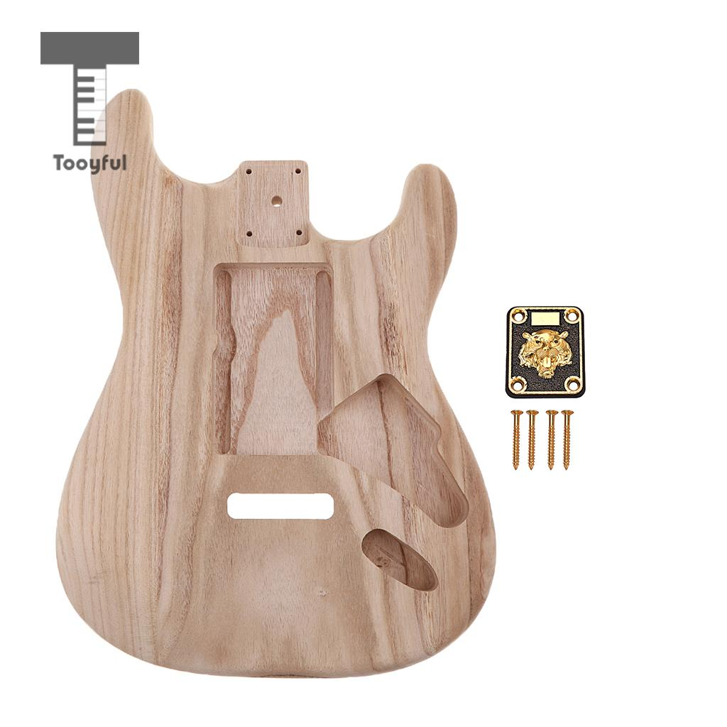Tooyful Polished Unfinished Electric Guitar Body with Alloy Neck Plate Set Unique pattern for neck plate