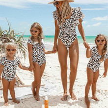 Family matching swimsuit mother daughter parent-child one-piece monokini ruffle spot