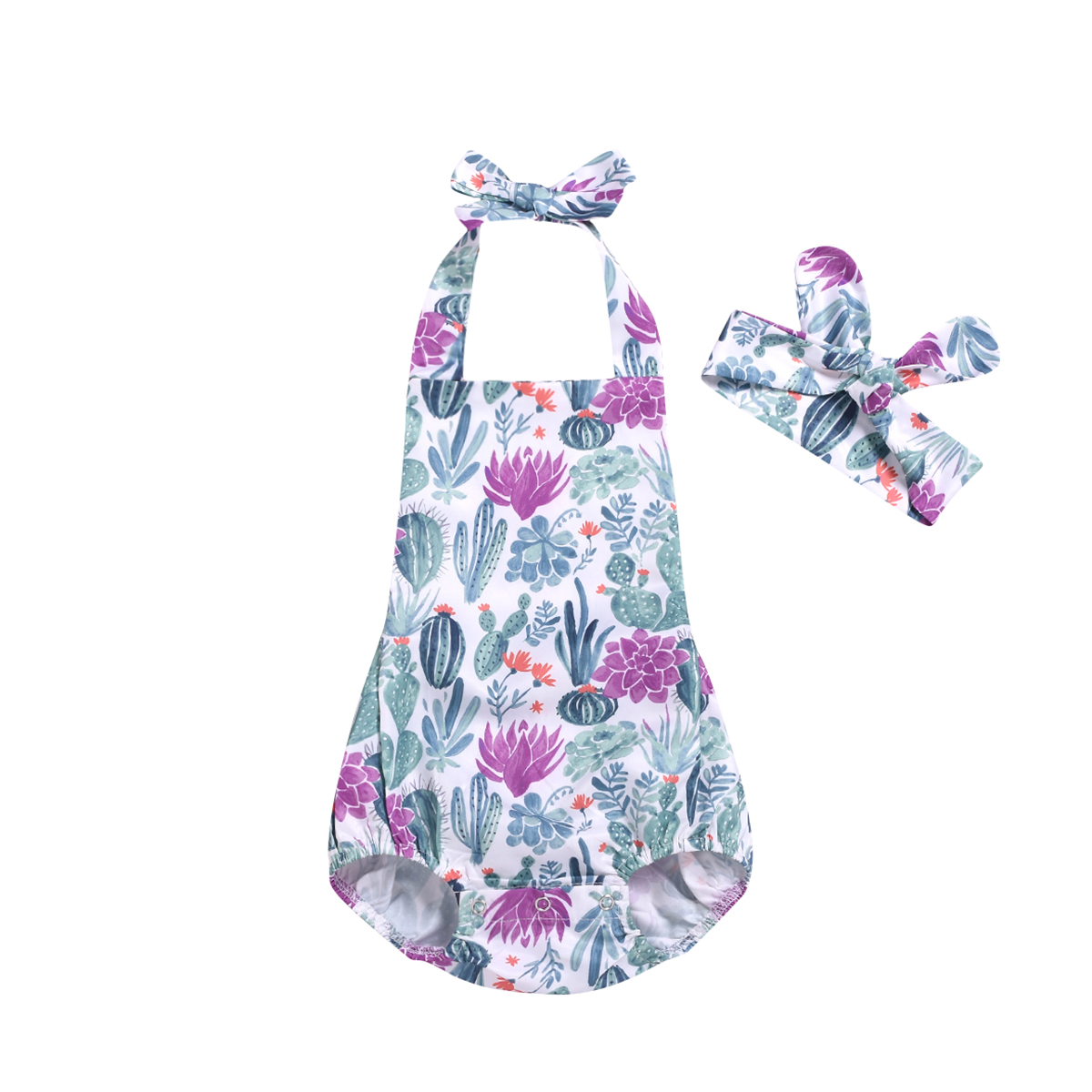 2019 New Cotton Newborn Baby Girls   Rompers   Cactus Flower Infant Girls Jumpsuit Playsuit Summer Sleeveless Clothing