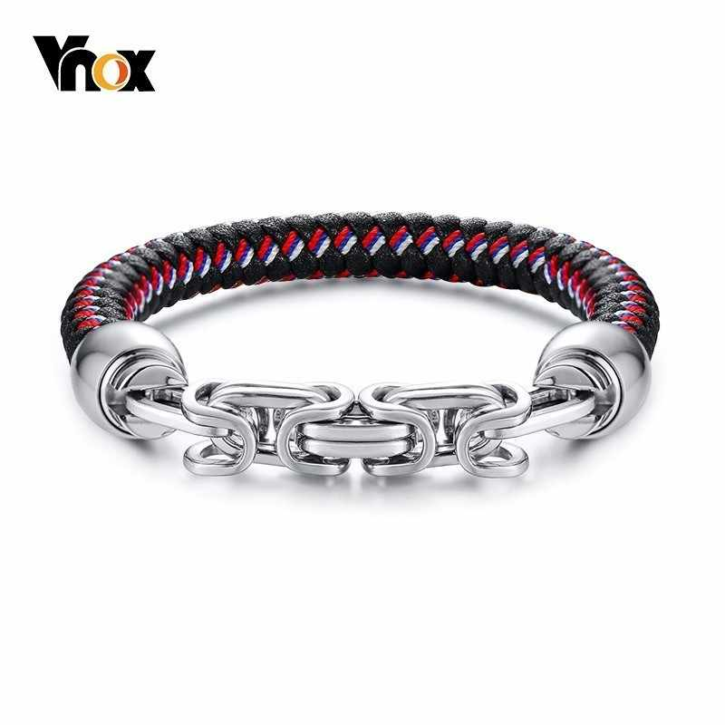 Vnox Unique Byzantine Charm Bracelets for Male Stylish Mens Genuine Braided Leather Wrist Bracelet Bangle with Magnet Clasp