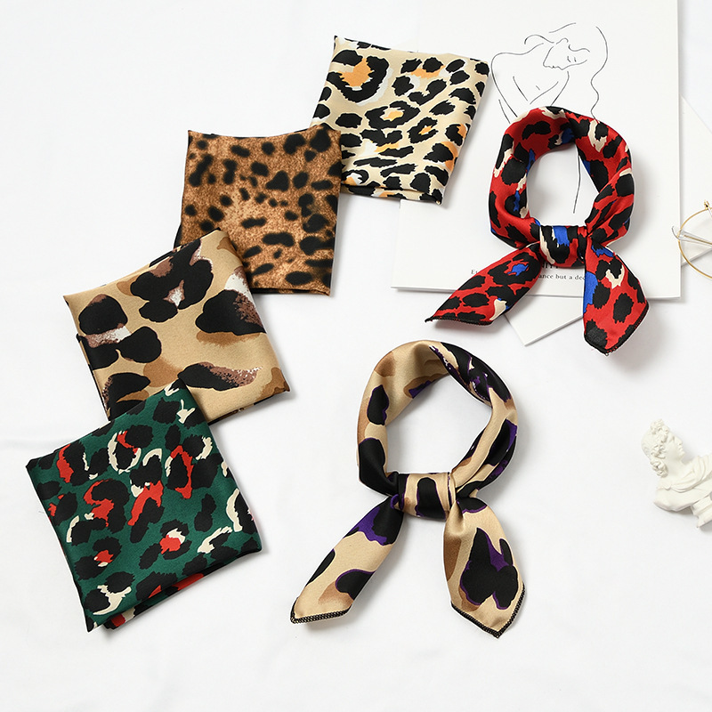 New 50x50cm Women Multifunction Polyester Silk Scarf Sexy Leopard Printed Satin Small Square Wraps Scarves Shawl Shawls
