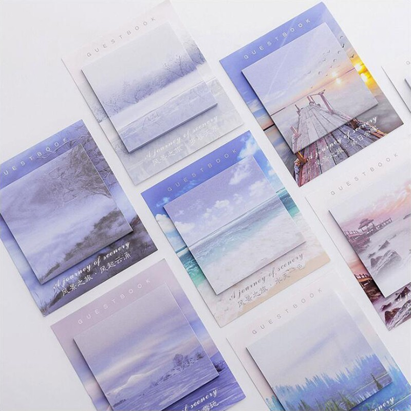 Landscape Pattern Sticky Notes Post Sticker Scrapbook Diary Planner Memo Pads Office Stationery School Supplies1PCS