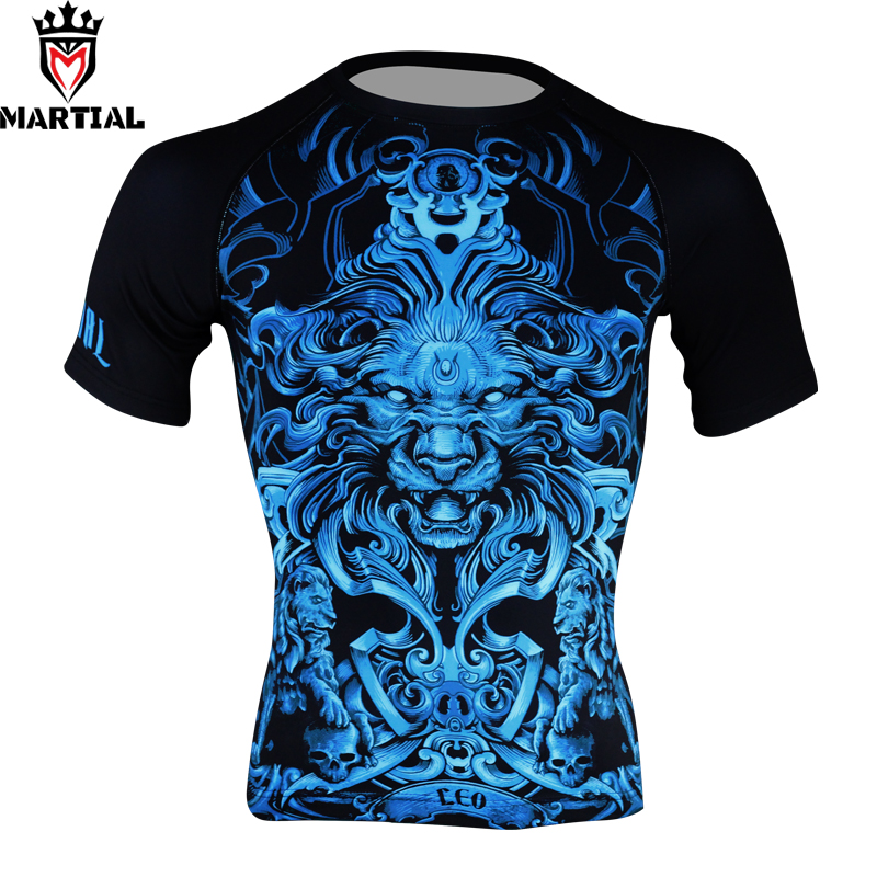 Martial :wholesale Leo Printed T Shirt Sport Men Compression Shirt Jiu Jitsu T- Shirt Men Boxing MMA Rashguard Bjj Jersey