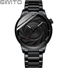 hot deal buy gimto new men watches 2018 luxury brand creative camera style wristwatch mens watches quartz stainless steel watch military male