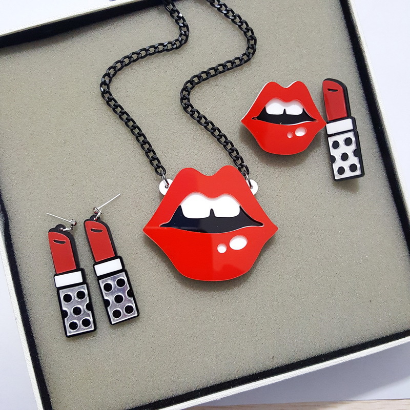 Kawaii-Earrings Necklace Thailand Sexy Mouth Korean Pendientes Women Lips For Largos