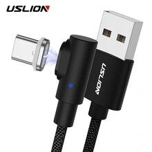 USLION 90 градусов магнитное зарядное устройство Micro USB кабель Быстрая зарядка usb type C кабель для samsung/Xiaomi/iPhone Android Phone 3A
