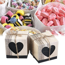 50PCS Retro Vintage Imitated Wood Hollow Out Portable Spades Heart Box Candy Boxes For Baby Shower Party(China)
