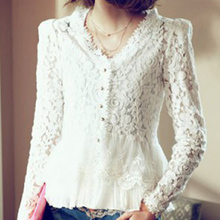 summer style Hollow Out Blouse Shirt Women Long Sleeve V Neck Casual White Lace Shirt Tops Solid Color