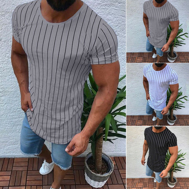 2019 Summer New High Quality Men T shirt Casual Short Sleeve O-neck 100% Cotton Male Brand New Striped Tee Tops Plus Size XXL
