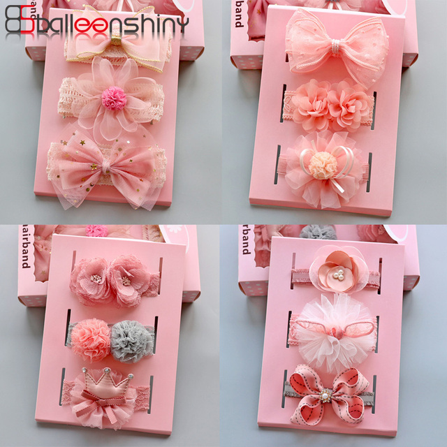 BalleenShiny Super Elastic Baby Headband Gift Box Lace Rabbit Ear Crown Bow Flower Hair Band Baby Girls Hair Accessories Turban