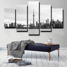 Printed Poster Home Decor Wall Art Frame 5 Pieces Famous Building City Scenery Paintings Modular Canvas Toronto Skyline Pictures owl city toronto