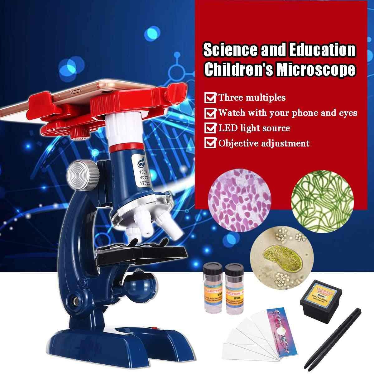 100X 400X 1200X Zoom illuminé monoculaire enfants enfant Microscope biologique ensemble étudiant jouet éducatif cadeau
