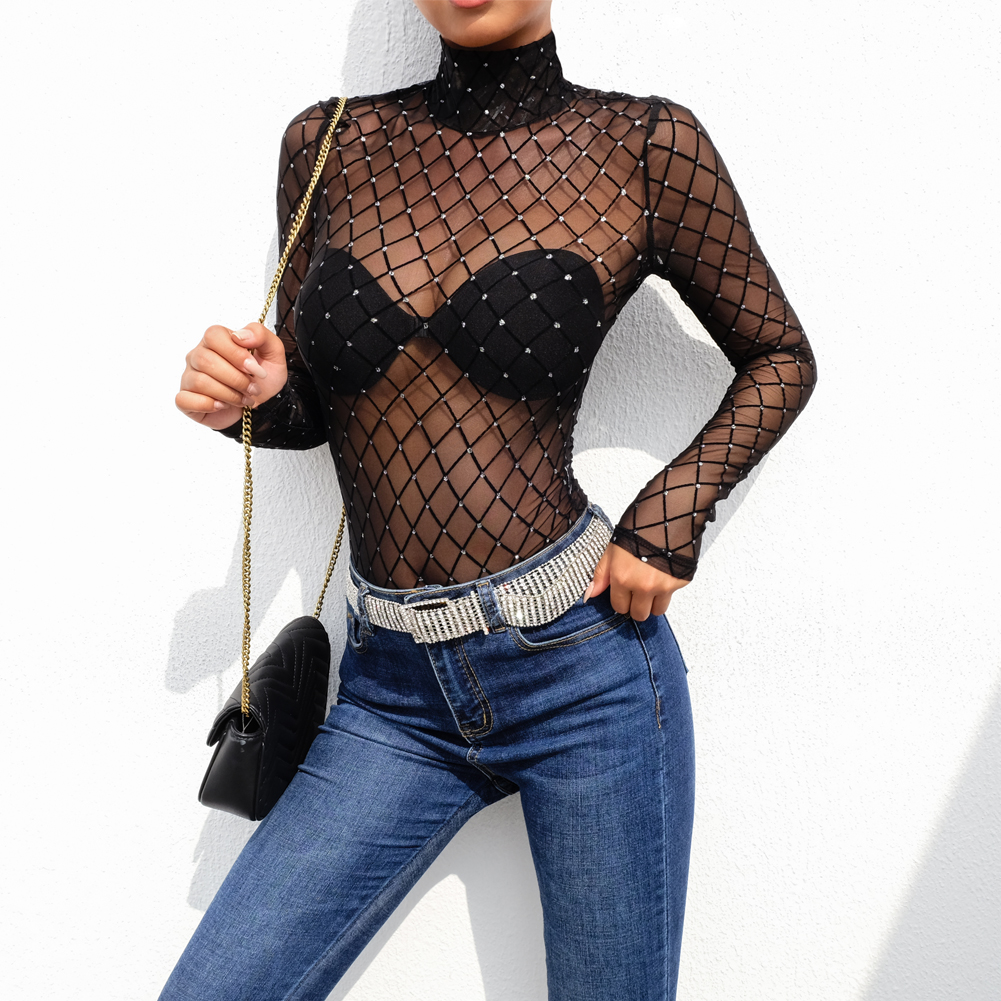 New 2019 Women Black Plaid Sheer Mesh Lace Bodysuits Long Sleeve Transparent Top Turtleneck Bodysuit Rompers