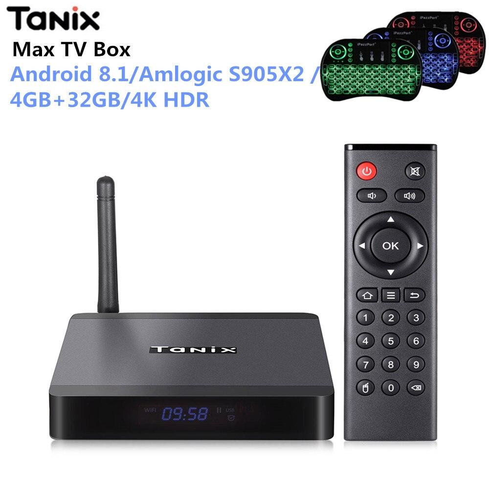 Tanix TX5 Max boîtier de smart tv Android 8.1 4 GB LPDDR4 + 32 GB MEM Amlogic S905X2 2.4 GHz + 5 GHz wiFi BT4.2 Soutien 4 K H.265