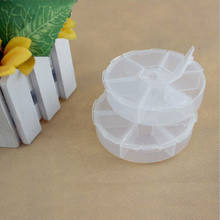 Brand New 6 Slots Adjustable Plastic Transparent Round Storage Box for jewelry Diamond Embroidery Craft Bead Pill Storage Tool(China)