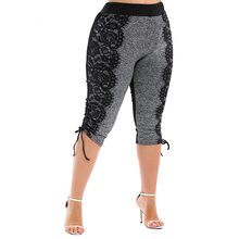 цена на Plus Size Leggins 3D Lace Print Drawstring Capri Leggings Elastic High Waist Women Summer Skinny Fitness Legging Pants Trousers