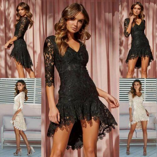 Summer Dresses HOT Plus Size Women Lace Mini Irregular Dress Lace Half Sleeve V Neck Slim Dresses Size S 3XL in Dresses from Women 39 s Clothing