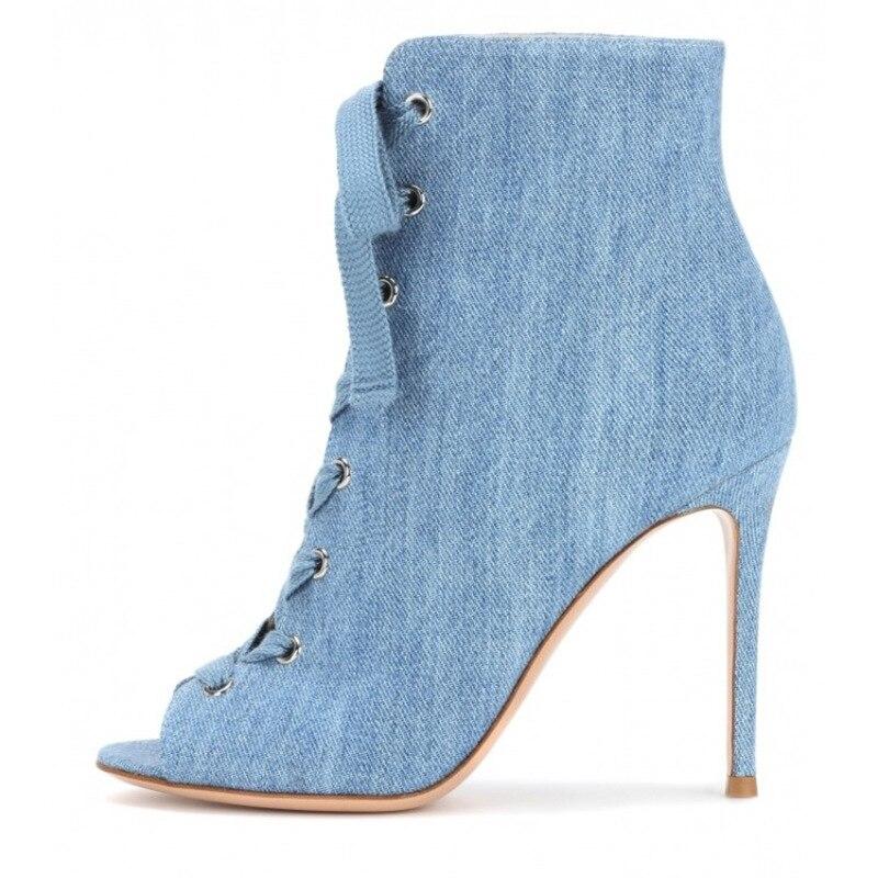 Moraima snc 2019 mode vente chaude à talons hauts grande taille bottes courtes poisson bouche denim cool bottes