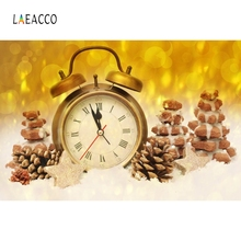 Laeacco Clock Golden Ribbon Light Bokeh Backdrop Photography Background Customized Photographic Backdrops For Photo Studio
