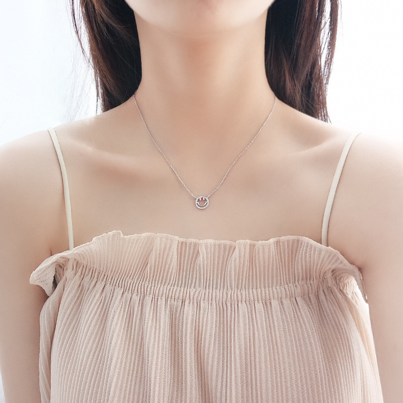 2019 Korea Smile Necklace Pure Silver Geometric Crystal Pendant For Women Necklace 925 Sterling Silver Wedding Jewelery Gift in Choker Necklaces from Jewelry Accessories