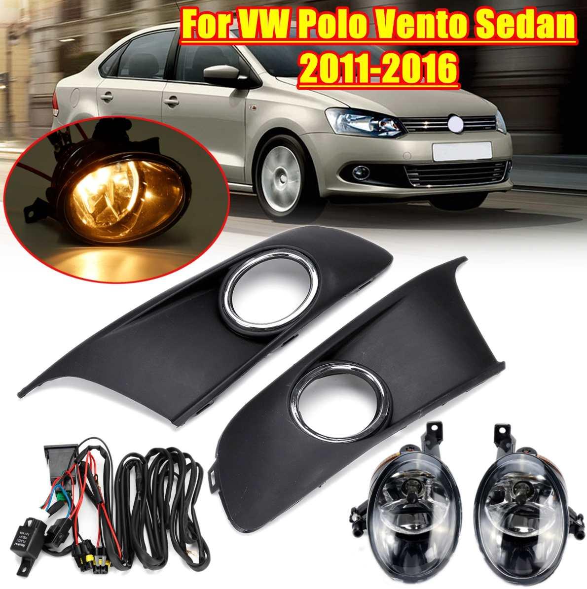 Car Light Fog Light Fog Lamp Fog Light Cover And Harness Assembly For VW Polo Vento Sedan Saloon 2011 2012 2013 2014 2015 2016