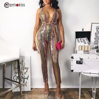 Deep V Neck Sequin Bandage Rompers Womens Jumpsuit Autumn Winter Sleeveless Empire playsuit Skinnyjumpsuits for women 2019