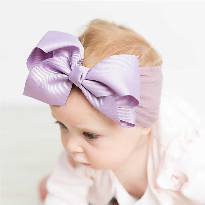 18 สี Soft เด็กทารก Big Bow Hairband Headband เจ้าหญิงยืด Turban Big Knot หัวห่อแฟชั่นแถบคาดศีรษะยืดหยุ่น