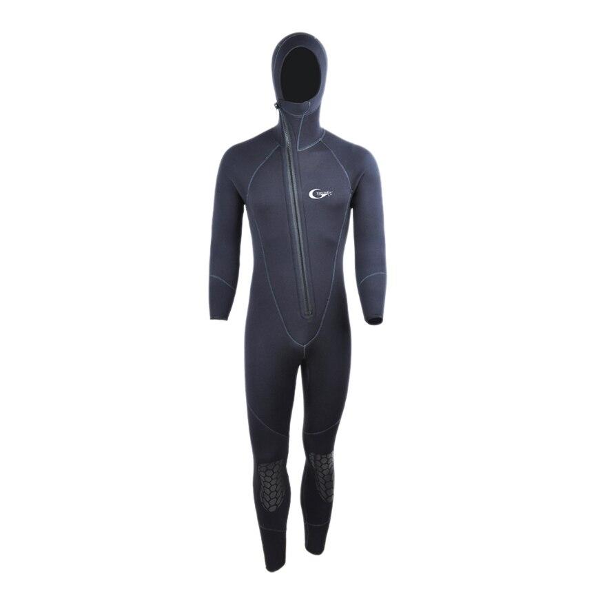 Yon Sub 5mm Winter Warm Neoprene Scuba Diving Wetsuit 5mm Men Hood Surfing Front Zipper Snorkeling Spearfishing Diving Suit