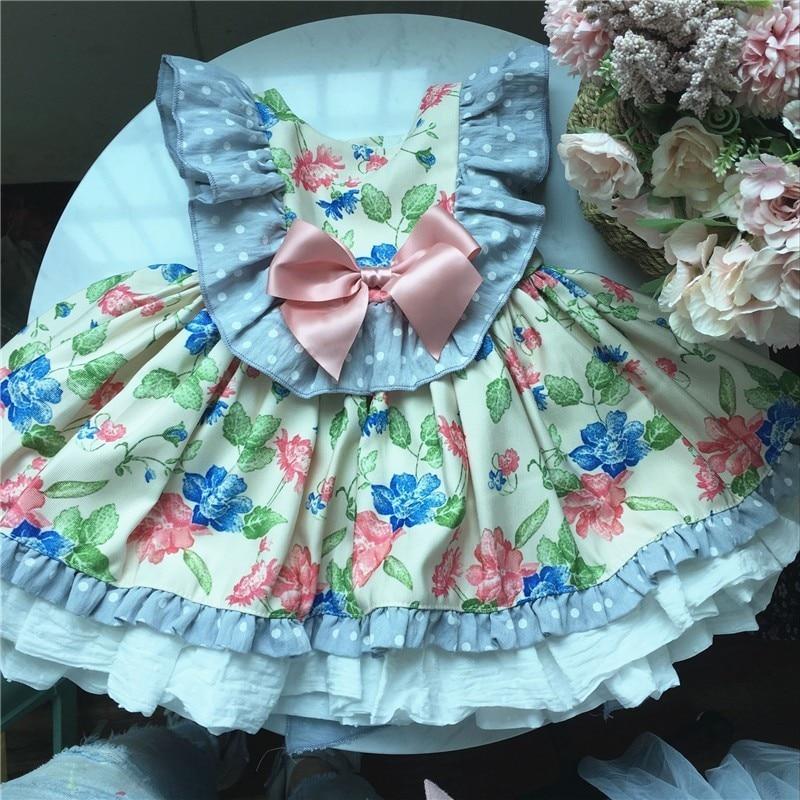 Été bébé filles fleur robes vintage volants bébé robe pour enfants robes pour fille vêtements rétro enfants mariage