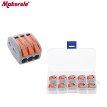 Makerele 10pcs Universal Compact Fast Wire Connector 3 Pin Mini Conductors Terminal Block 32A MKVSE-413 Plastic Box