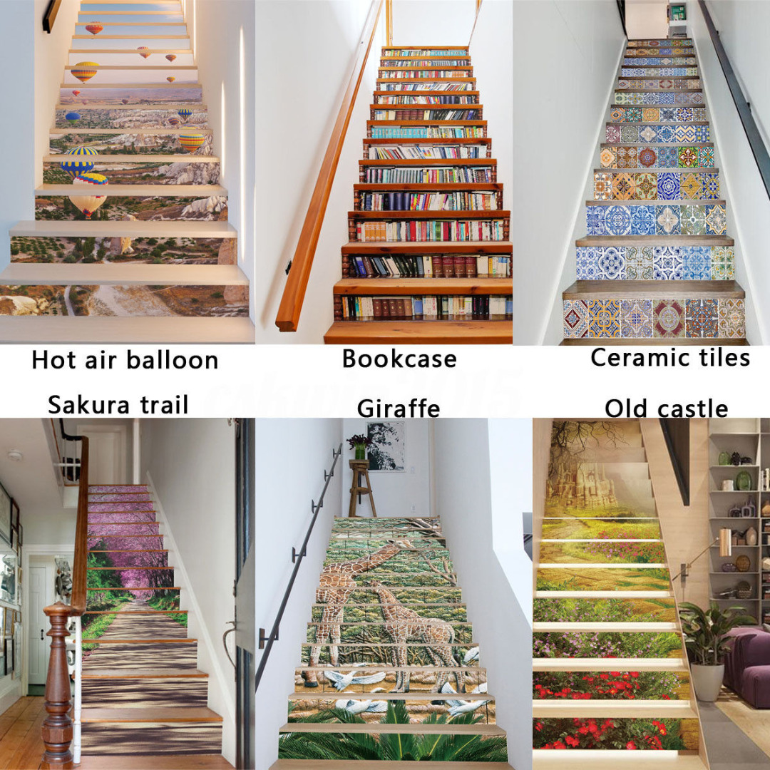 6-Type 13Pcs 18x100CM 3D DIY Entrance Stair Riser Sticker Photo Mural Wall Decal