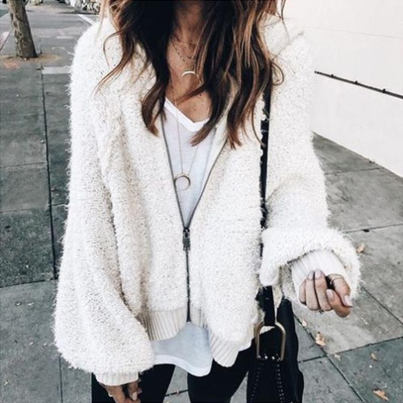 Women Coats 2018 Autumn Spring Warm Faux Fur Jackets Sexy Long Sleeve Hooded Outwear Casual Loose Overcoats Tops Streetwear