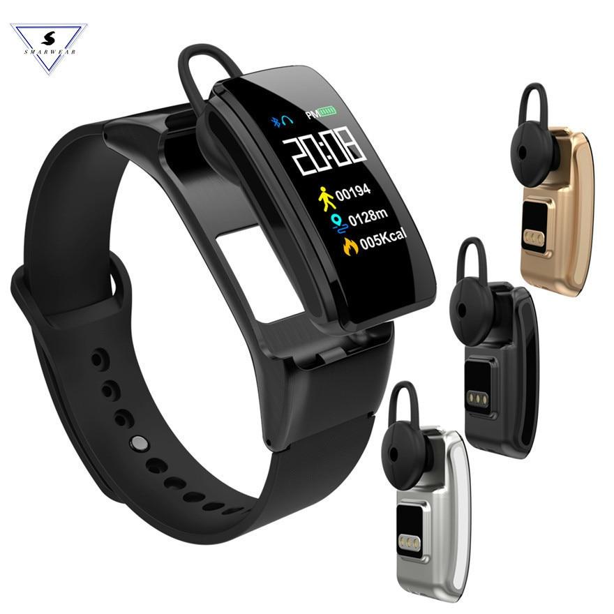 Вызов циферблат Смарт часы группа Цвет Экран Фитнес браслет крови Давление сердечного ритма гарнитура Bluetooth браслет для IOS Android