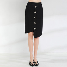 2019 Spring and summer new Knitting Skirts Irregular Black Single-breasted mujer High Quality knitted skirts women 1930