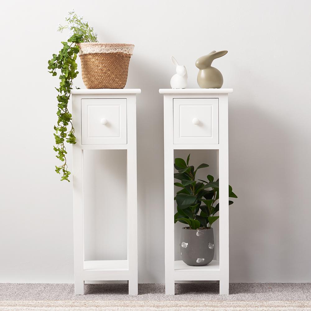 Panana Pair Of Side Table Bedside Tables & Drawer White For Smaller Spaces Hallway Slim Table Reading Lamp Stand Plant Stand