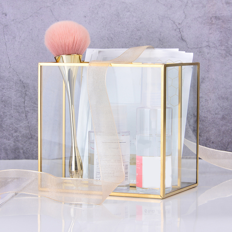 LUDA Nordic Gold Grid Glass Flip Storage Tank Box Luxury Modern Cosmetics Storage Box Container Micro-Landscape Flower Room