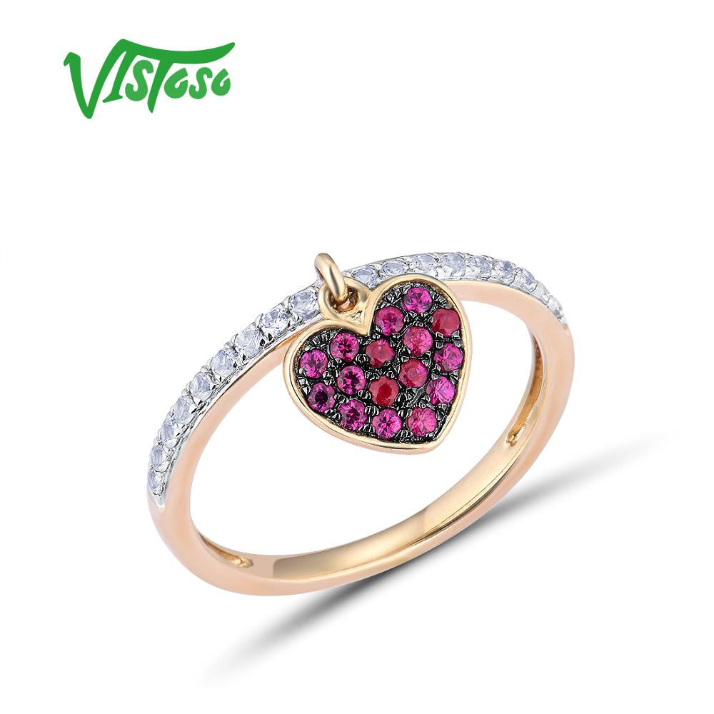 VISTOSO Genuine 10K Yellow Gold Created Ruby White Sapphire Heart Ring For Lady Engagement Anniversary Lovely