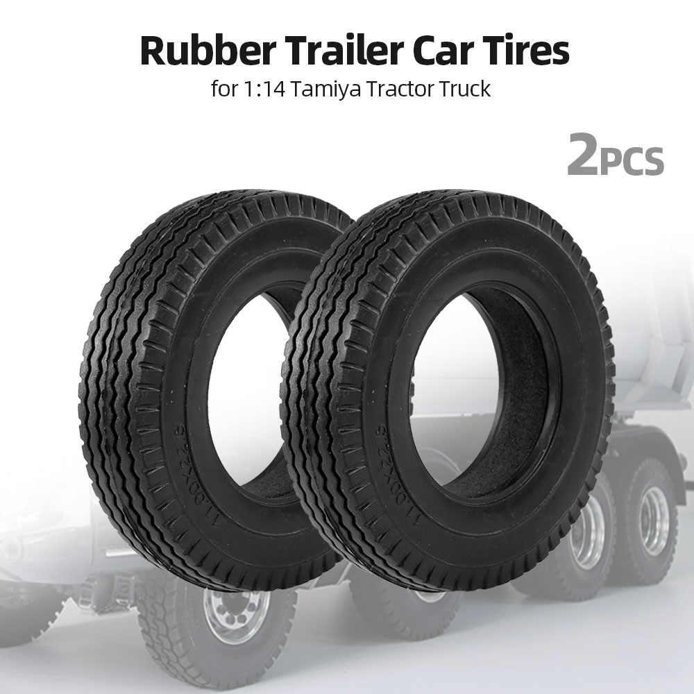 2 Pcs Karet Ban 2019 Baru Trailer Mobil Ban Karet untuk 1:14 Tamiya Traktor Truk RC Climbing Trailer