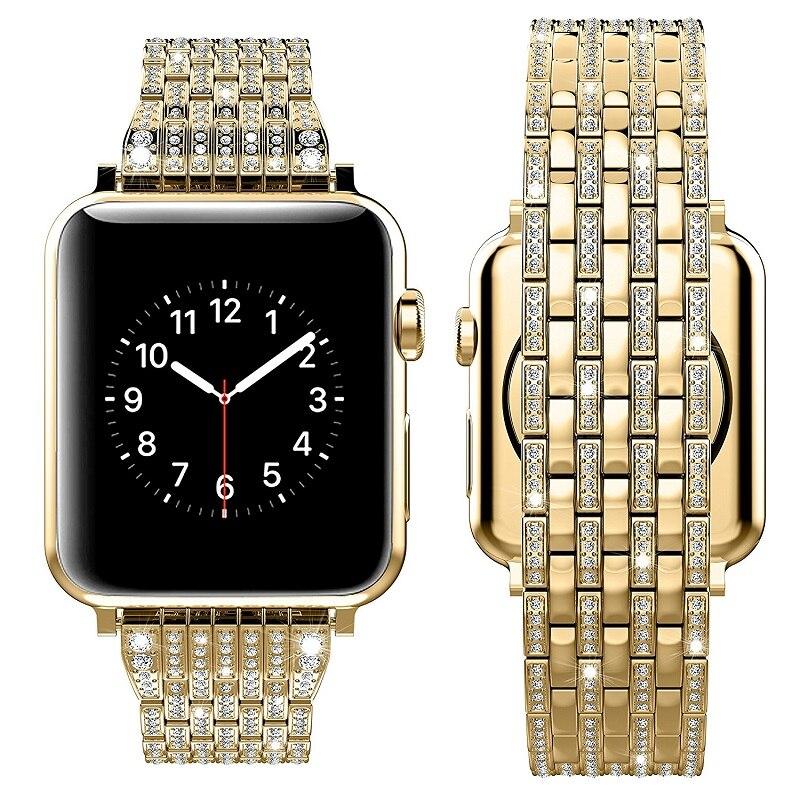 Bracelet en acier inoxydable avec diamants en cristal strass pour bracelets de montre Apple 38mm 42mm 40mm 44mm pour la série iwatch 5/4/3/2/1