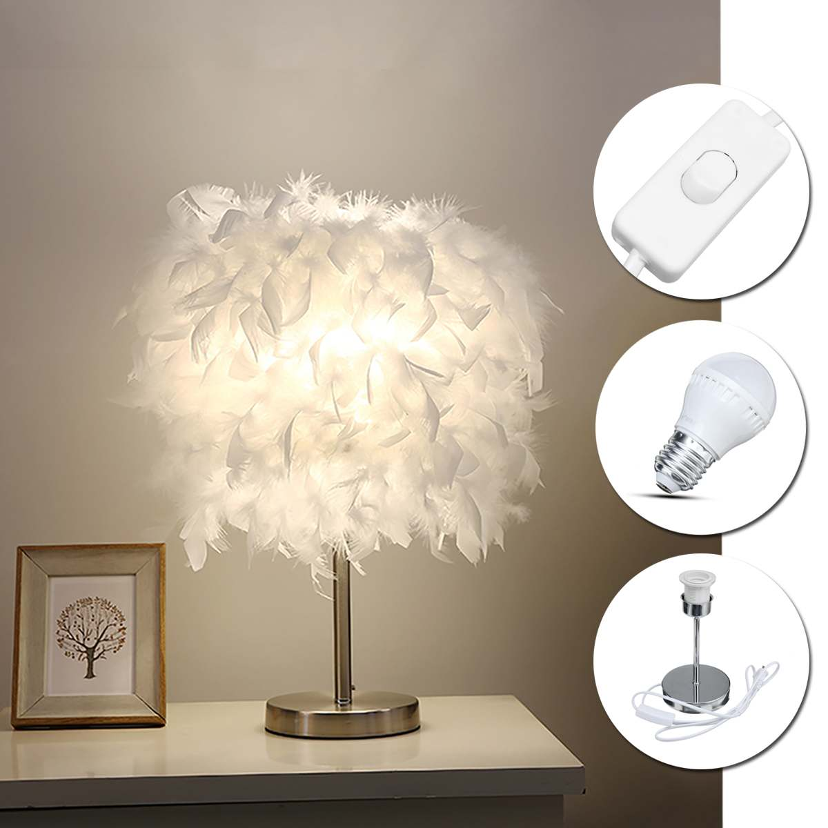 Feather Shade Metal Table Lamp 220v Bedside Desk Vintage