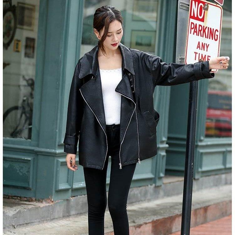 2018 Autumn Black Women PU   Leather   Coat New Fashion Zipper Sashes   Leather   Coats Female Elegant Loose Jacket