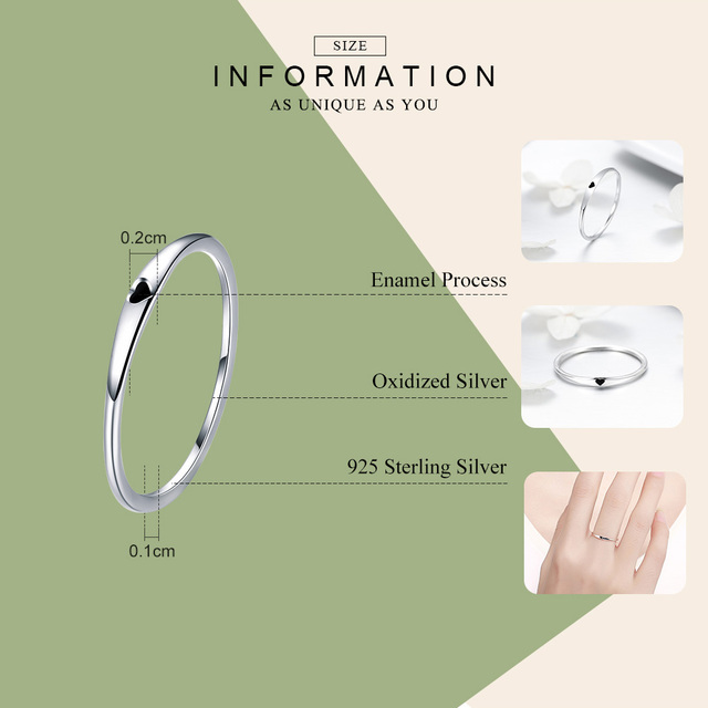 BAMOER 925 Sterling Silver Round Circle Pure Finger Ring Simple Heart Engrave Rings for Women Wedding Engagement Jewelry SCR468 1