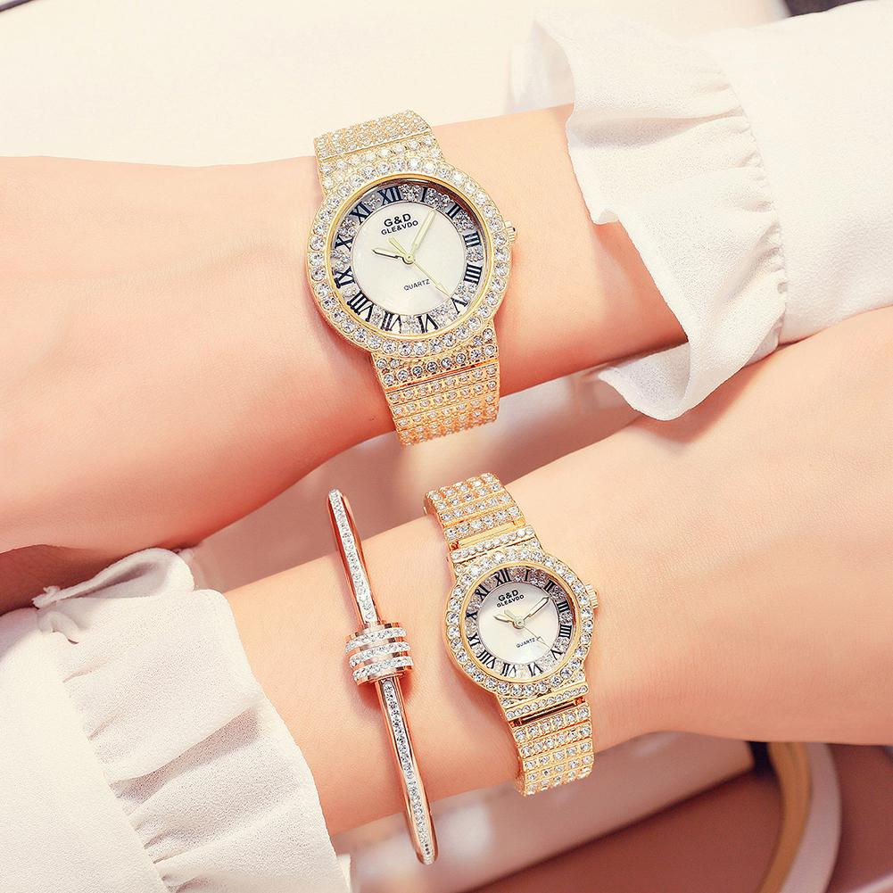 GLE&VDO Men Women Lovers Quartz Watch Bracelet Shimmer Crystal Rhinestone Couples Wristwatches Gift (without Chain)