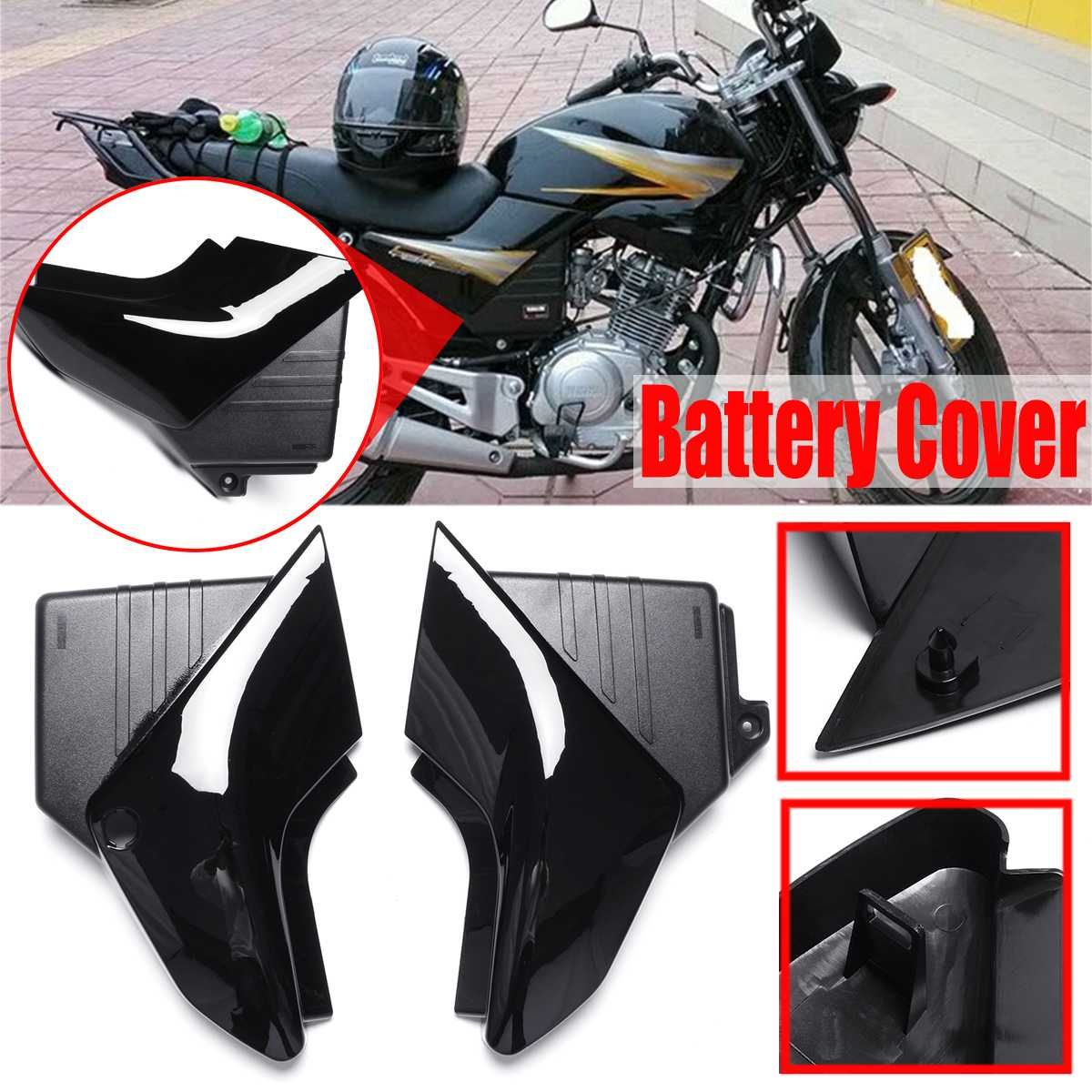 motorcycle pair black side panel battery cover for yamaha. Black Bedroom Furniture Sets. Home Design Ideas