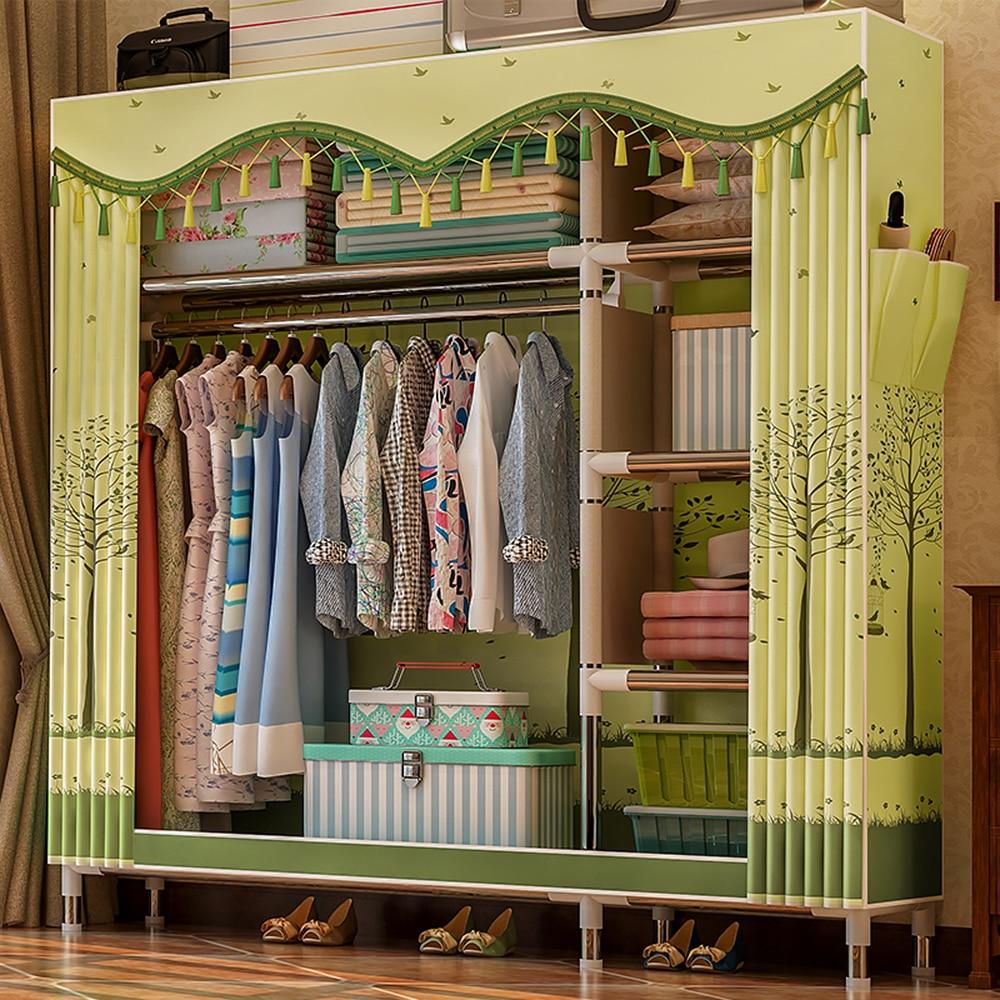 Fabric Wardrobe Organizer Clothing-Rack Garment 126--46--172cm